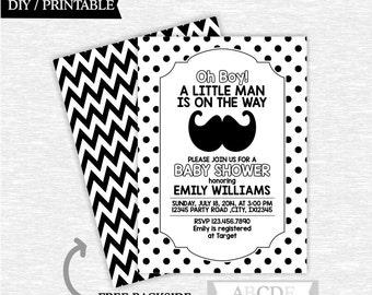 Black and White Little Man Boy Baby Shower Invitation, Polka Dots, Chevron, Mustache, Little Man Baby Shower DIY Printable ( PDLMR001 )