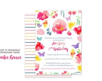 enchanted garden invitations, butterfly garden invites, butterfly birthday invites, watercolour garden birthday party, magical, printable