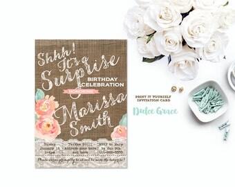 peach surprise party invitations, surprise party invites, bridal or baby shower surprise invite, burlap surprise invitations, PRINT YOURSELF