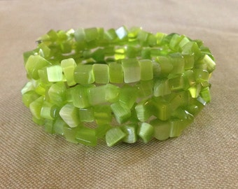 Lime Green Cat's Eye Gemstone Beaded Chips Memory Wire Bracelet