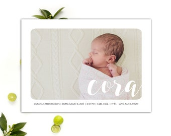Modern Baby Announcements // Birth Announcement Cards // Baby Girl Announcement // 5x7 Printable Photo Birth Announcements // The Cora