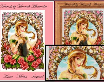 Anna - Mucha-Inspired - Artwork by Hannah Alexander - cross stitch pattern - cross stitch Anna - PDF pattern - Instant download!