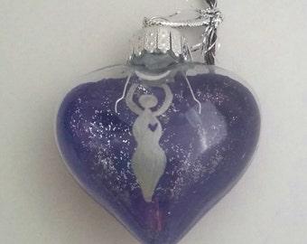 Yule Ornament- Goddess Ornament- heart shaped glass ornament- Pagan Holiday Ornament- Wiccan Holiday Ornament- Pagan Holiday Gift- Yule Gift