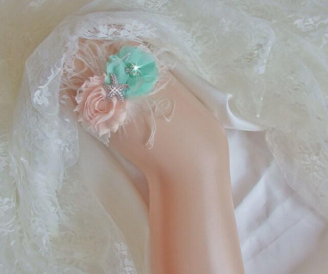 Beach Wedding Garter: Beach Garter Set Mint And Peach Wedding Garter By