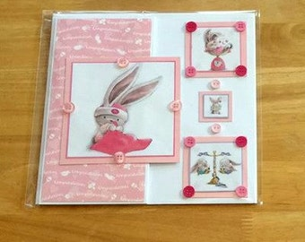 Pink Baby Card, New Baby Card, Baby Girl Card, New Baby Girl Card, New Baby Card, Baby Card, Pink Bunny Card, Baby Girl, Baby Shower Card,