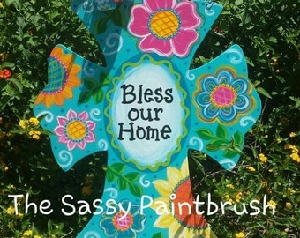 Bless Our Home wooden cross door hanger 28 X 22 inches... .available for personalization