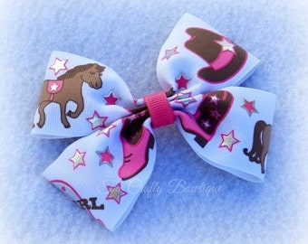 Pink Horse Bow ~ Pink Cowgirl Bow ~ Brown Horse Bow ~ Pink Western Bow ~ Country Girl Bow ~ Cowgirl Hair Clip ~ Western Hair Clip ~ Pony Bow