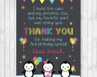 Penguins Thank you Card, Penguin thank you note, Penguin thank you tags, Penguins birthday, Penguin party, printable