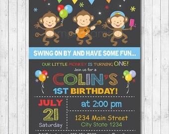 Monkey's Birthday Invitation, Monkey Invite, Monkey Party, Boys Invitation, Digital Printable Invitation