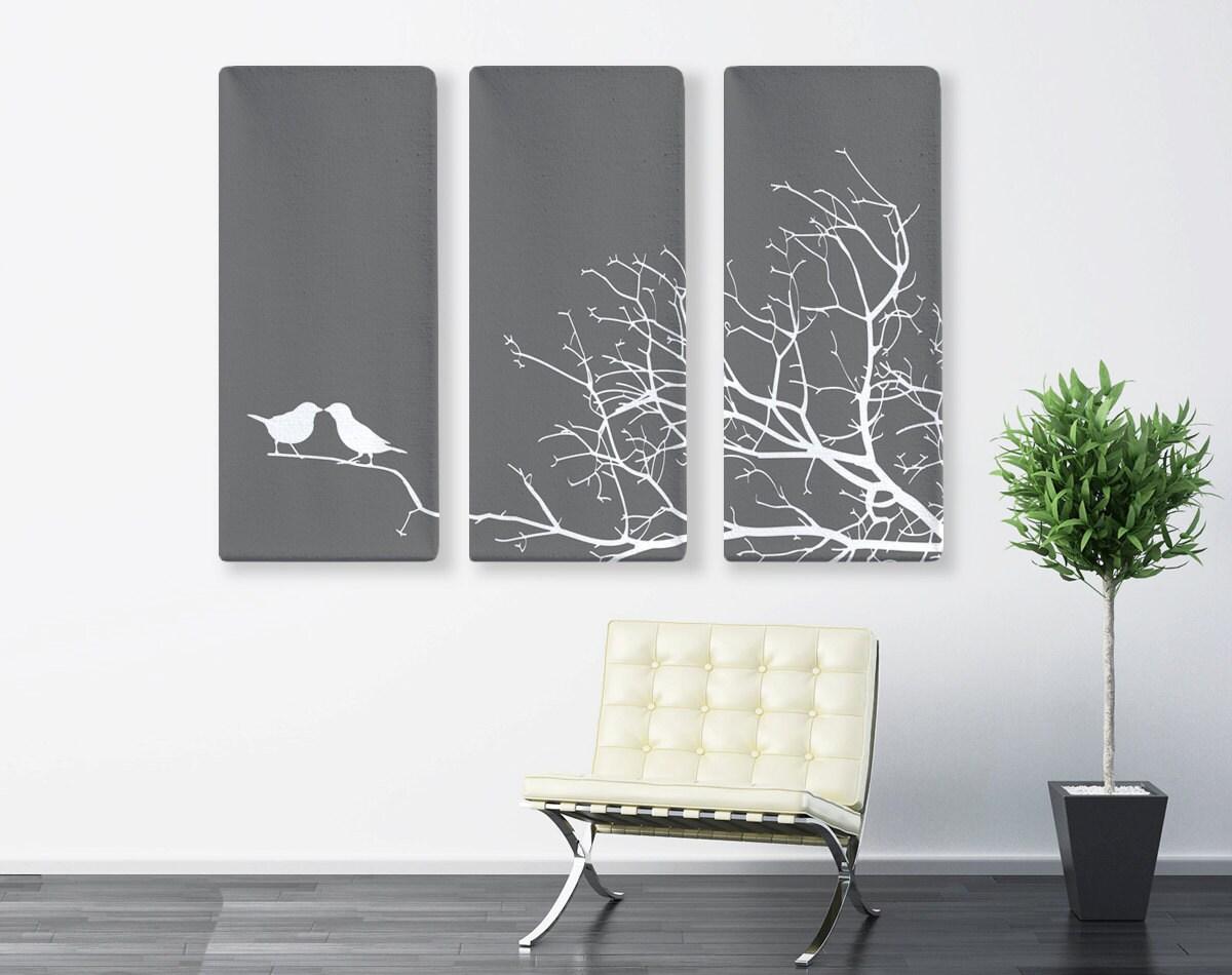 impression sur toile nature art triptyque love birds toile. Black Bedroom Furniture Sets. Home Design Ideas