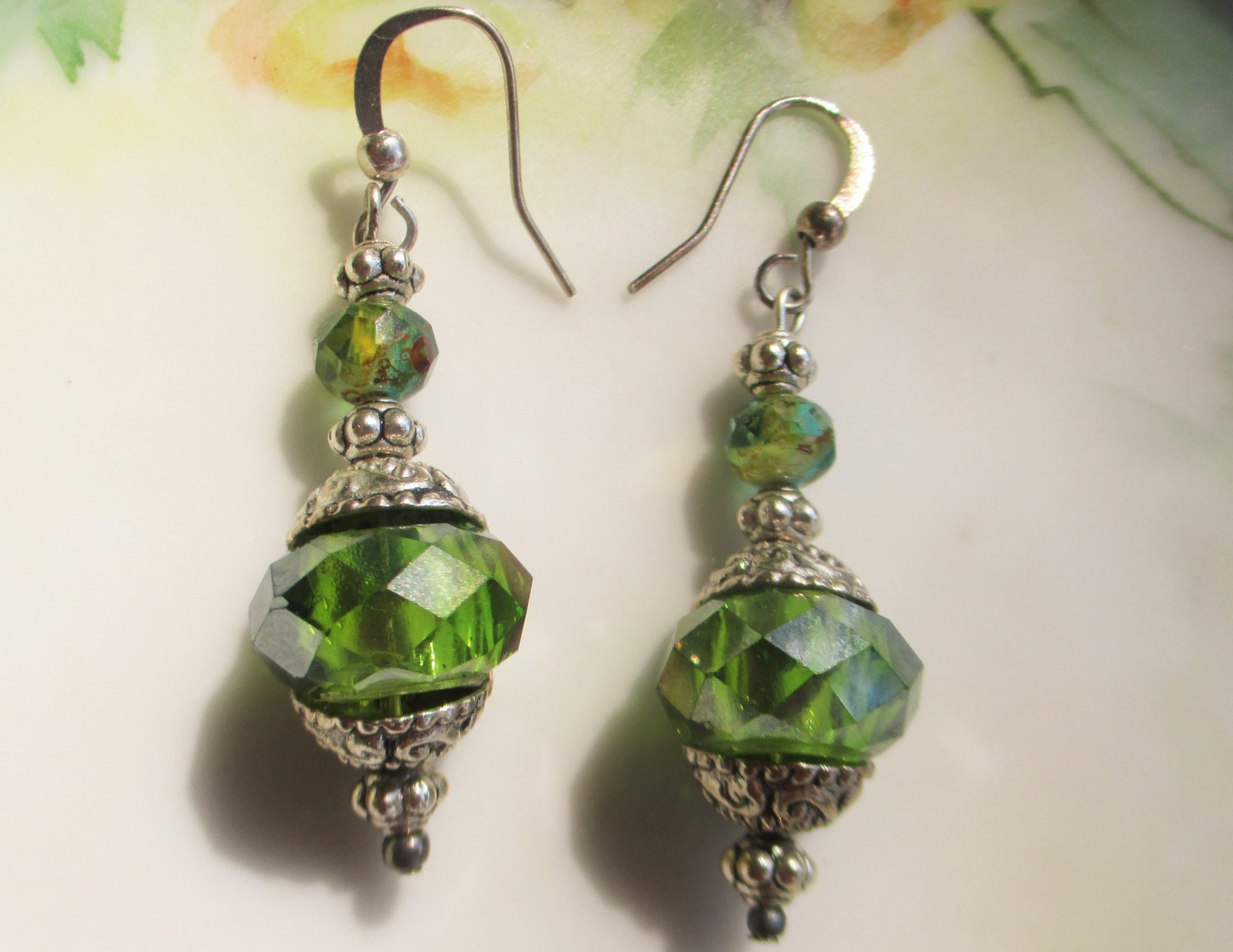 picasso earrings sea green earrings silver earrings boho
