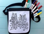 Owls Colour In Bag For iPad across the body strap Colouring in Adult Activity Girls Colour In Handbag Hours Of Fun Colouring In