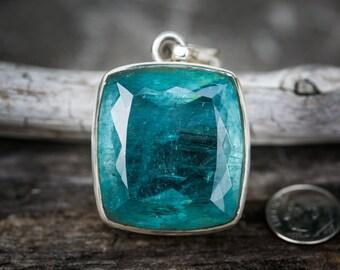 Aquamarine Pendant ~ Large Rare Aquamarine Sterling Silver pendant ~ Aquamarine March birthstone - Aquamarine Pendant - Aquamarine Necklace