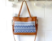 Leather Shoulder Bag - Thai Woven Fabric & Leather Crossbody Tote - Leather Tote - Handmade in Australia