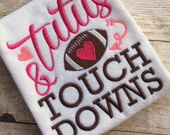 football embroidery - football applique - embroidery saying - girl football embroidery - girl football applique - Tutus and Touchdowns