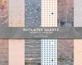 Rutilated Rose Quartz & Gold Marbled Digital Papers with Watercolor Gradients in Pink, Lavender and Blue Tones
