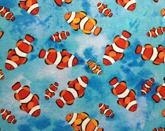 One Half Yard of  Fabric Material - Clown Fish