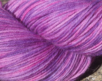 July Pinks #2 -Hand Dyed 4 ply sock yarn 100g - Superwash