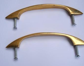 Set of 2 Big Vintage Brass Handles/ Vintage Brass Handles Pulls Cabinet or Furniture Hardware/1970s