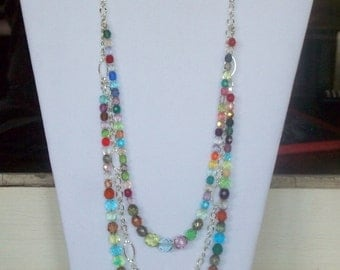 multi color multi faceted 3 layer necklace