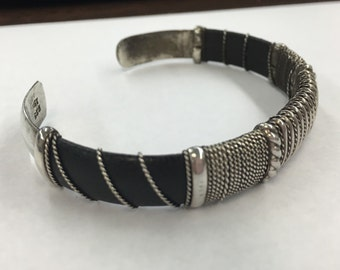 Sterlng Silver Wire Wrapped Black Leather Cuff Bracelet