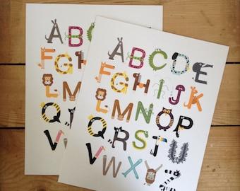 8X10 AtoZ 'The little font farm' alphabet print. Animal abc alphabet