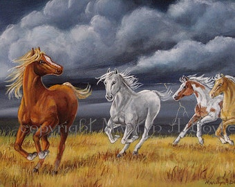 ORIGINAL ACRYLIC PAINTING;Horses,free shipping in Canada, Canadian art,16 x 20 inches,horses running,stormy skies, lightning, nature,