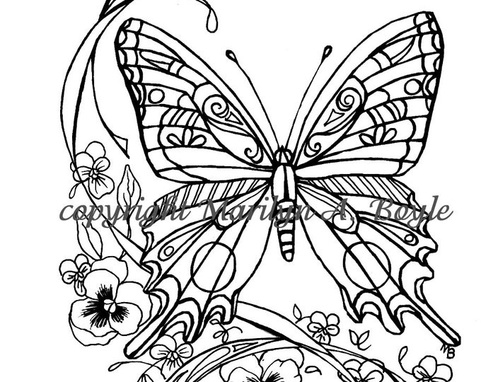 ADULT COLORING PAGE; digital download, butterfly, flowers, garden, nature, wings, pen and ink, from original art,
