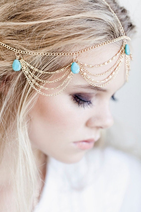 Bohemian Gold and Turquoise Headpiece, Bridal Hair Chain, Boho Hair Jewelry, Boho Wedding Jewelry, Chain Hair Jewerly, Bohemian Bride, Boho