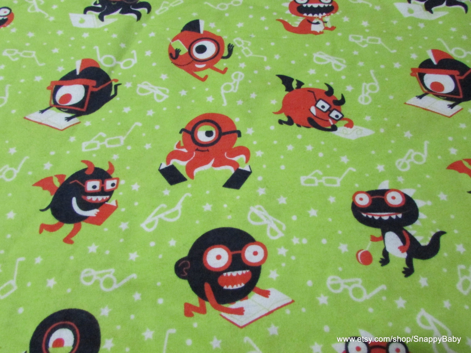 Flannel fabric nerdy monsters by the yard 100 cotton for Baby monster fabric