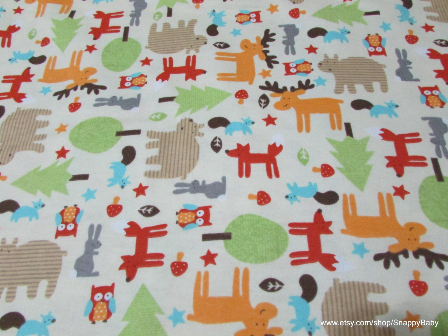 Flannel fabric baby woodland by the yard 100 cotton for Baby fabric by the yard