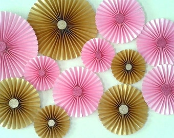 Set of 12 - PINK and GOLD Paper Rosettes / fans, Table Backdrop, Candy Buffet decor, Pink and Gold Birthday, baby shower.