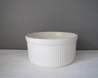 Vintage Pfaltzgraff Crock, Ceramic Baking Dish, Large Souffle Bowl, White Bakeware