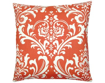 Pillowcase OZBORNE korall red white Baroque ornament 40 x 40 cm