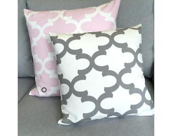 1 pillowcase FYNN pink white 40 x 40 cm grid Oriental