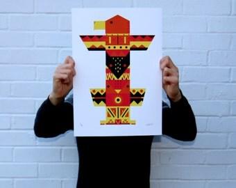 Screen Printed Totem Poster | Native American Silk Screen | Illustrated Hand Printed Animal Totem Art Print | Screen Print
