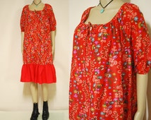 70s Vintage Dress Red Floral Tent Smock Retro Oversized Hippie Puff Sleeve Vtg 1970s Free Size