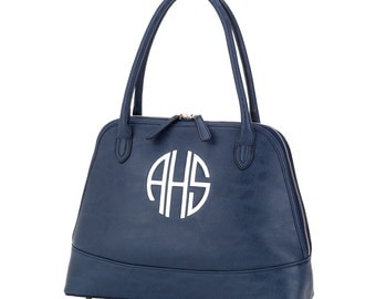 Monogrammed Purse (leather like) Choose from Black, Brown, Navy or Green