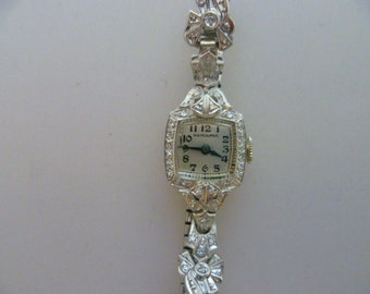 Vintage Hamilton Platinum and Diamond Ladies Watch, USA movement, celluloid presentation box