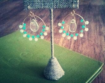 Handmade chandelier earrings, Quartz,  onyx and Chalcedony earrings, romantic boho drop earrings.