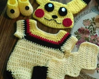 "Crochet ""Pikachu"" onsie baby set. Perfect for Halloween."