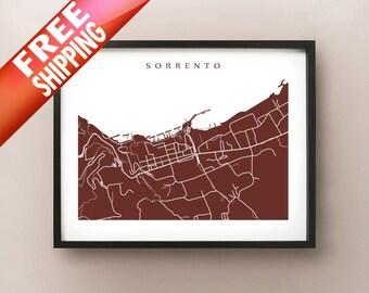 Sorrento Map Print - Campania Home Decor - Italy Modern Abstract City Maps - Italian Wall Art - Sorrento Italy Poster