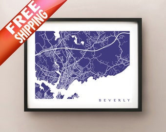 Beverly, Massachusetts Map Print - FREE SHIPPING