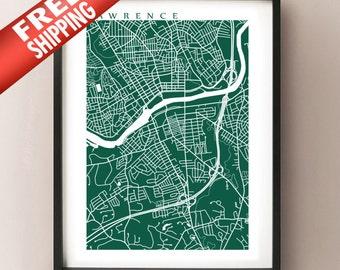 Lawrence Map Print - Massachusetts Poster