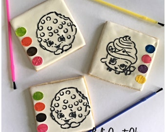 Shopkins/ paint your own cookie / Shopkin  cookie/ sugar cookies- 1 dozen boxed cookies included