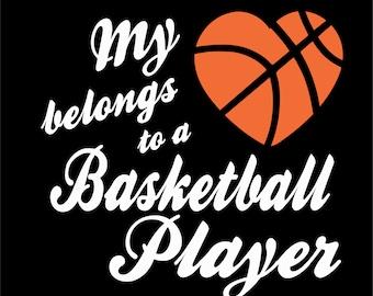 My Heart Belongs To A Basketball Player Short Sleeve Basketball T Shirt