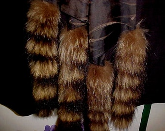"""Vintage Racoon Tail  Long Satin  Scasrf- 64"""" X 6"""" - Dimensions Include Tails- WOW!! -#53"""