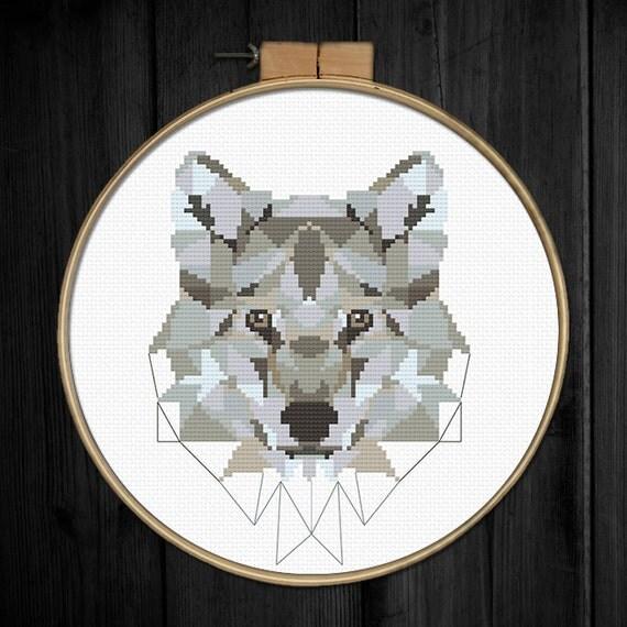wolf cross stitch pattern pdf instant download modern. Black Bedroom Furniture Sets. Home Design Ideas
