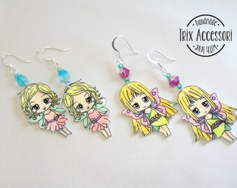 Hand drawn fairy earrings, shrink plastic, fairies, fantasy, chibi, girly, tinkerbell, fairytail, fables, legends, myths, kawaii, kids