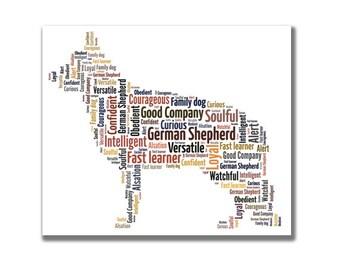 German Shepherd, Alsation - Personalised dog word art.
